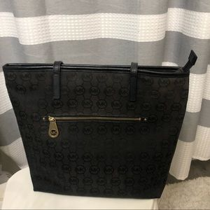 Michael Kors black canvas tote bag